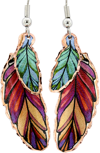 dangle-copper-feather-earrings-Ym-108