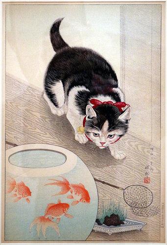 Ohara Koson - Cat and Goldfish, 1933