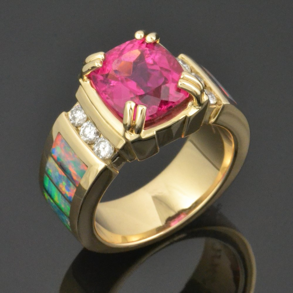 Rubellite Tourmaline Australian Opal And Diamond Ring By Mark Hileman Jewelry Gallery
